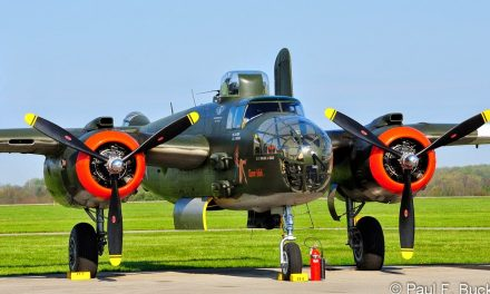 "The Missouri Wing of the Commemorative Air Force displaying its Mitchell B-25J 'Show Me"" at Grimes Field Urbana Ohio."