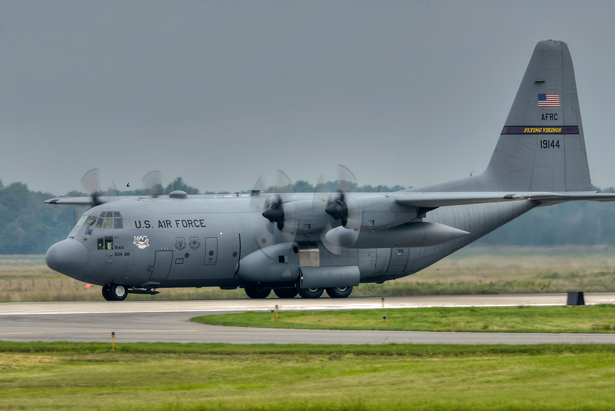 """C-130 from the 934th AW """"Flying Vikings"""" based out of Minneapolis/St. Paul MN"""