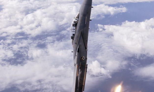 U.S. Air Force F-15D Eagle Fighter Jet In A Vertical Climb