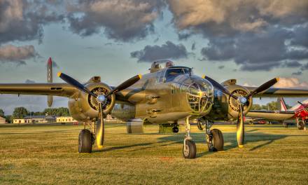 Fagen Fighters WWII Museum B-25 Mitchell on display at 2014 EAA Air Venture.