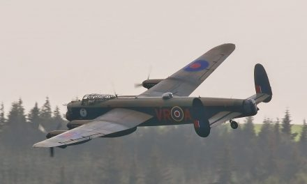 The two airworthy Lancaster fly low over Derwent Dam.
