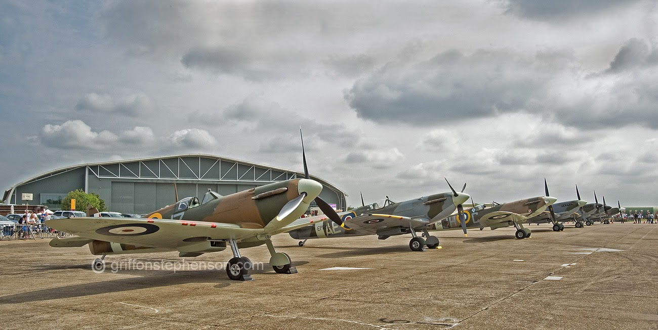 Spitfire Line Up, a line up of the iconic Spitfire. The line up begins with a very rare M k 1 and ends with a M k 19.
