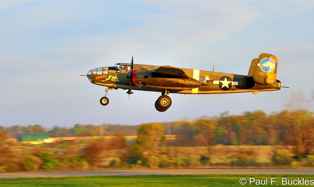 """The B-25 Mitchell """"Tondelayo"""", one the Collings Foundation many aircraft, departing Grimes Field Urbana, Ohio for…"""