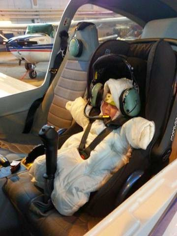 AOPA Photo of the Day: Member Marko Kempas's 3 week old daughter reminding us it's never too early for flight…