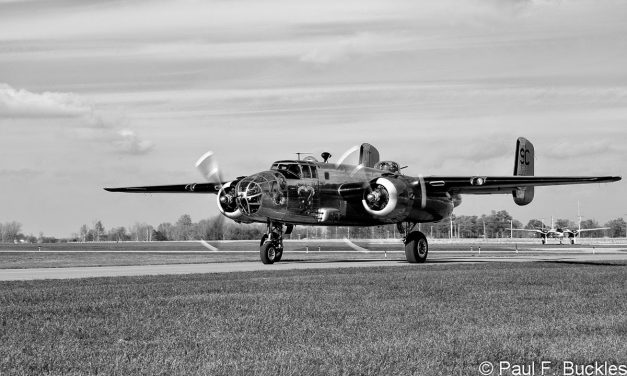 """B-25 Mitchell """"Yankee Warrior"""" taxiing out at Grimes Field Urbana, Ohio."""