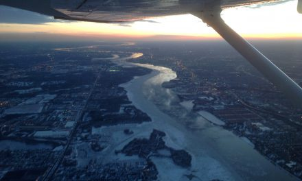 A view of the Delaware River looking towards Philadelpia.  A great evening for flying.