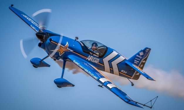 John Klatt in his Air National Guard MXS flying by for the photo pass – 2015 California Capital Airshow