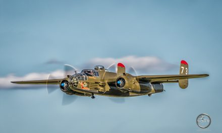 North American B-25 Mitchell Paper Doll at the 2015 Fagen Fighters WWII Museum's airshow.