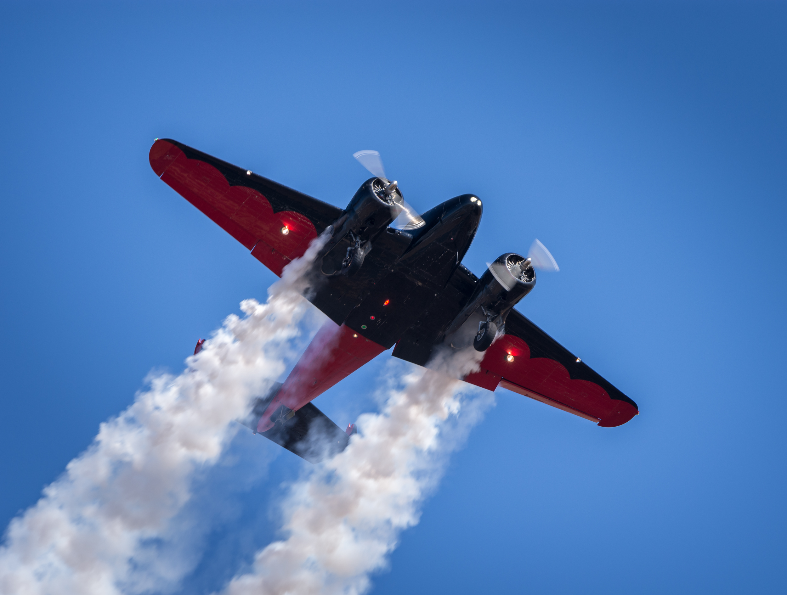 Matt Younkin, in his Twin Beech 18, performs during the 2015 California Capital Airshow
