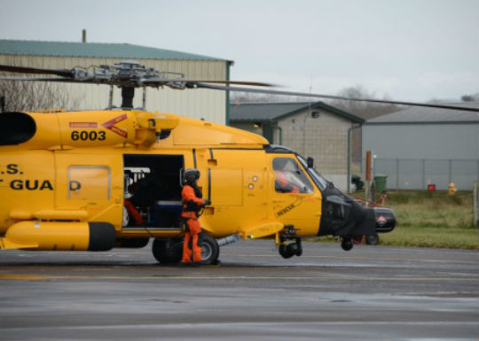 Coast Guard Air Station Astoria receives the service's first centennial celebration painted helicopter