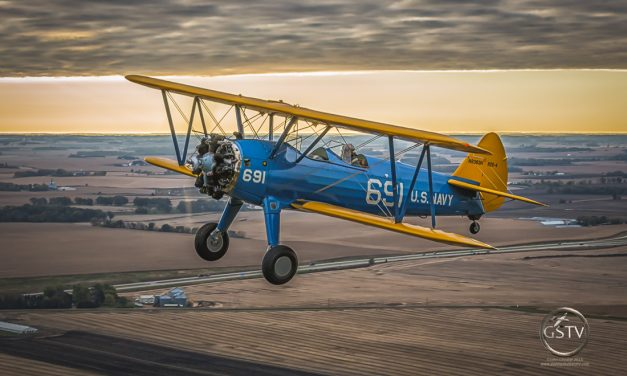 Sunrise with a Boeing Stearman