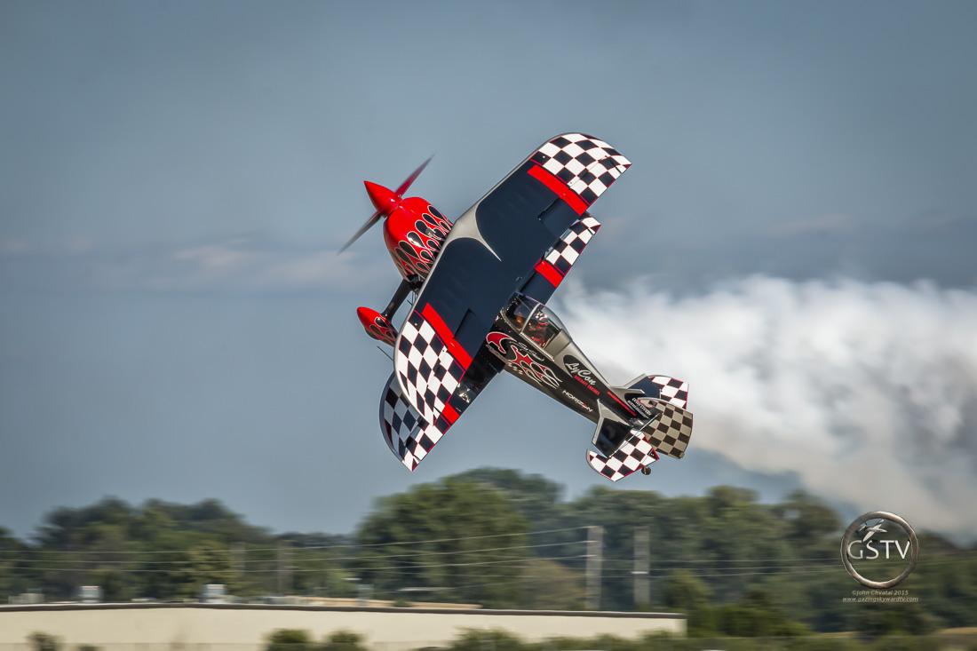 Skip Stewart performing in his custom built bi-plane called Prometheus