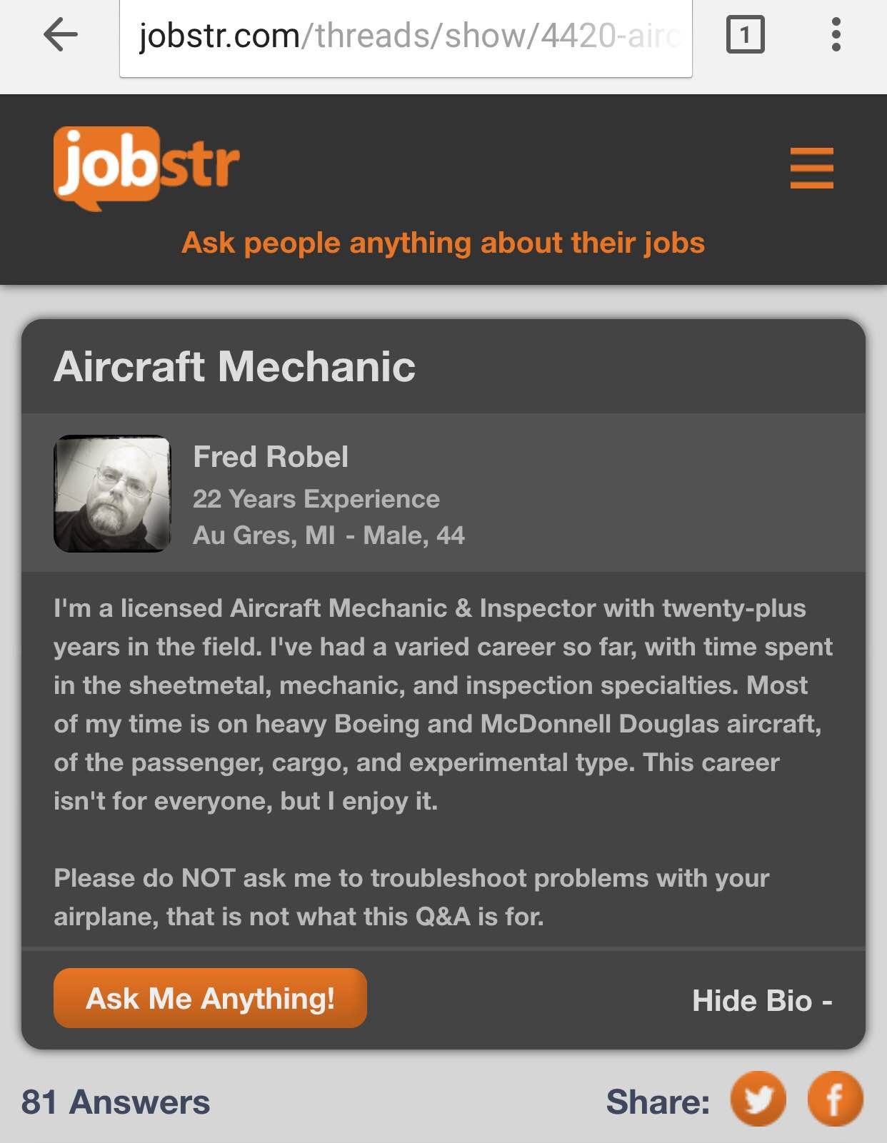 A newly minted A&P mechanic asked Fred Robel for some advice.