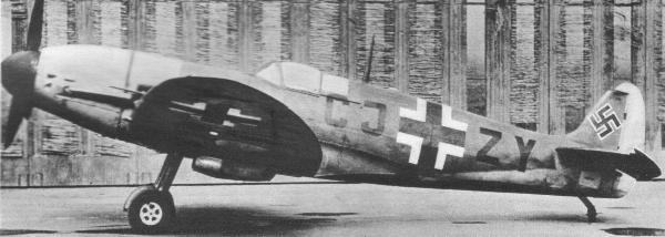 A captured Spitfire Mark Vb in Luftwaffe markings retrofitted with a Daimler-Benz DB605, aka the Messcherspit.