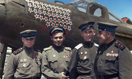 Soviet aces Capt Aleksandr Klubov, Maj Grigorii Rechkalov, Lt Andrei Trud and Maj Boris. (Colorized)