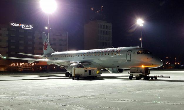 Air Canada Embraer 190 C-FMZW 338 at Winnipeg James A Richardson International Airport.