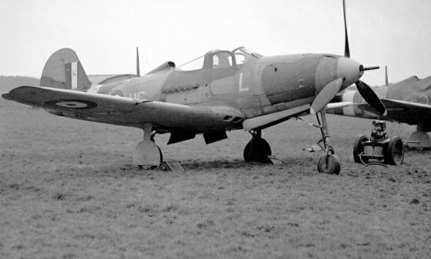 Bell Airacobra Mark I (aka a P-400) in use with 601 Squadron RAF at Duxford in 1941.