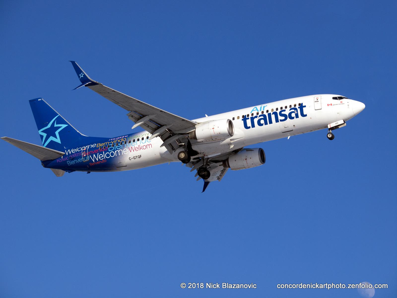 An Air Transat Boeing B-737-800 caught on final approach to CYWG / Winnipeg.