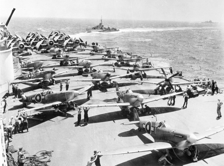 British carrier air power 1945 – SUPERMARINE SEAFIRES AND GRUMMAN AVENGERS.