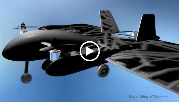 """""""Eagle Wing VTOL FPV"""",  shows control surface movements, taxi, and motor rotate. Animation: In the paint shop."""