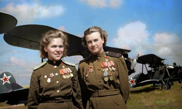 Soviet Air Force officers, Rufina Gasheva (848 night combat missions) and Nataly Meklin (980 night combat missions)…
