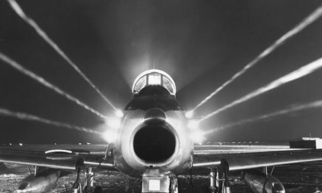An F-86 Sabre nighttime firepower display