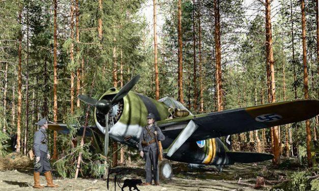 A Finnish Brewster Buffalo 239 fighter (BW-352) of (Squadron) Lentolaivue/24 at Selänpää airfield.