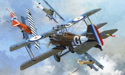 World War One aviation artwork – portrayed are British ace James McCudden in the S.E.5a and German ace Ernst Udet in…