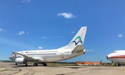 Our freshest arrival today: an ex-Air Méditerranée B737-500.
