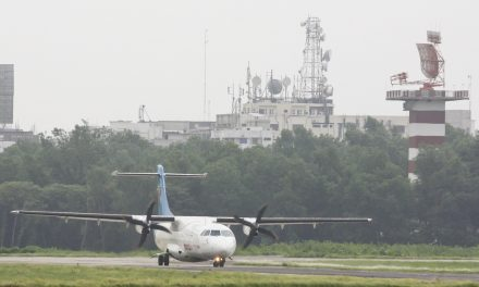 United Airways ATR 72-212 (S2-AFE) waiting beside the radar for clearance to take off.