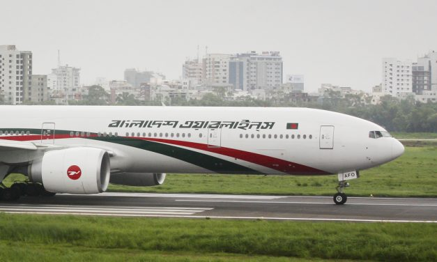 Bangladesh Biman Boeing 777-300ER (S2-AFO) Ready to Take Off