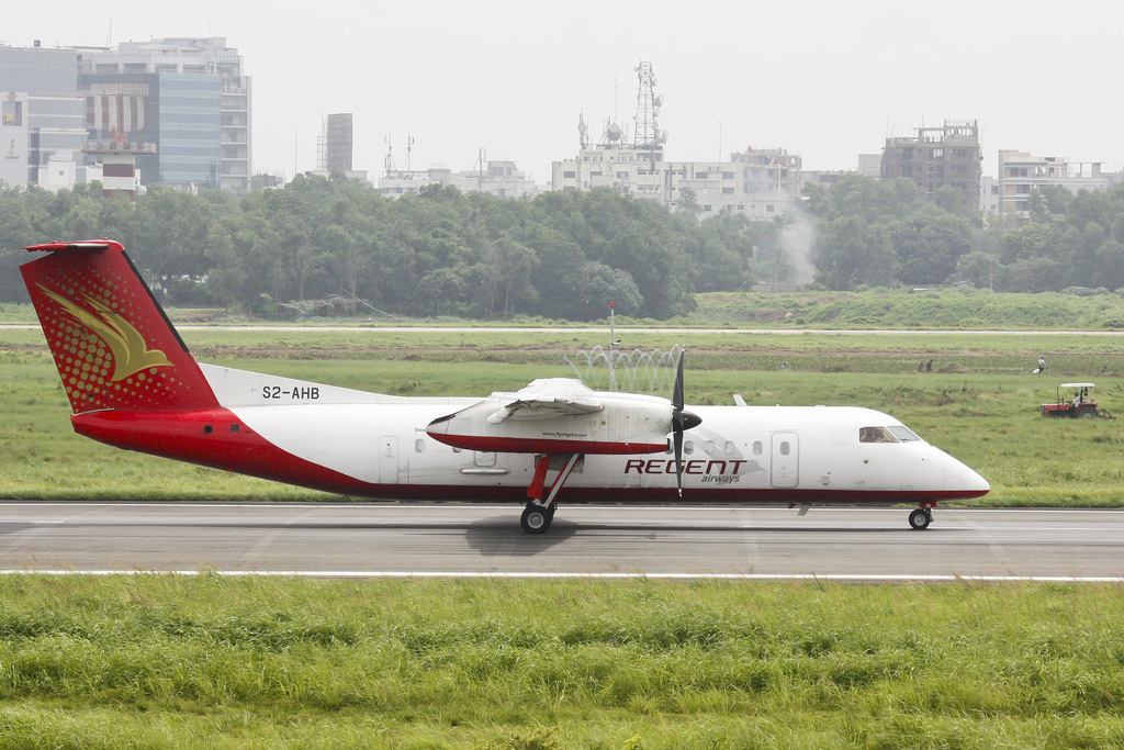 Regent Airways Bombardier Dash 8-Q314 (S2-AHB) Preparing to take off.