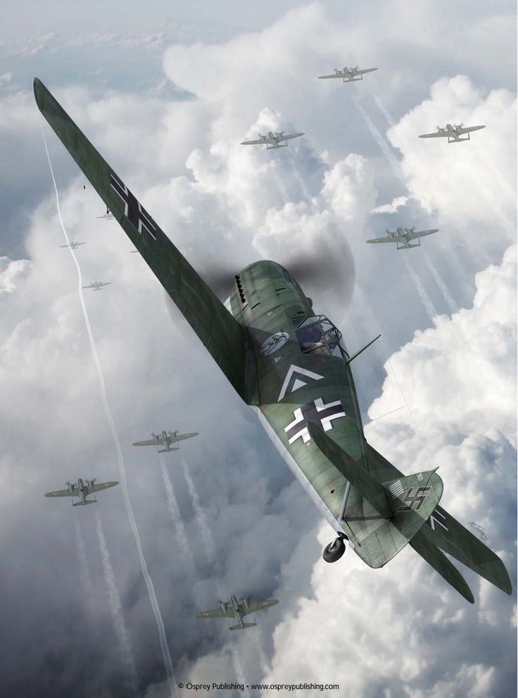 "Some artwork I've added to my Me-109 collection.  An ""Emil"" attacking a formation of Polish aircraft."