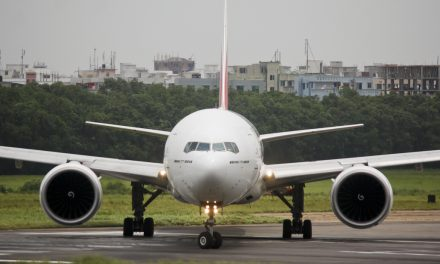 Emirates Boeing 777-300ER (A6-EBH) preparing to take off from Dhaka Airport (DAC/VGZR)