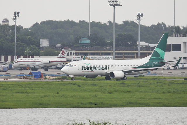 New to the fleet the Bangladesh Biman Boeing 737-800 (S2-AFL) taxiing to the runway for take off while the old…