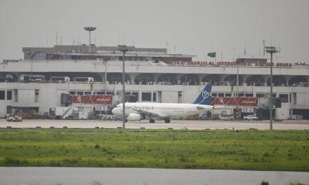Mihin Lanka Airbus A320-200 (4R-MRB) at Boarding Gate 5 of Hazrat Shahjalal International Airport Dhaka (VGHS)