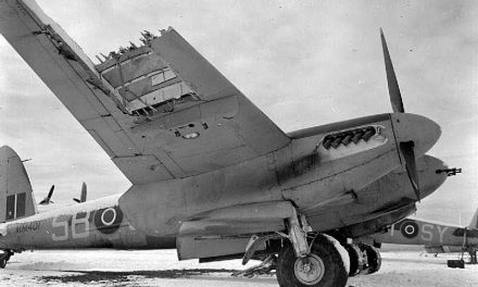 A Mosquito FB VI of 464 Sqn R.A.A.F.  crash landed at Friston emergency airfield, Sussex, in February 1944.