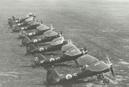 A line-up of Polish-built PZL P.11c fighter aircraft of the Kosciuszko Squadron during September 1939 campaign.