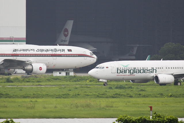 The last passenger DC-10-30 (S2-ACR) and Boeing 737-800 (S2-AFL)