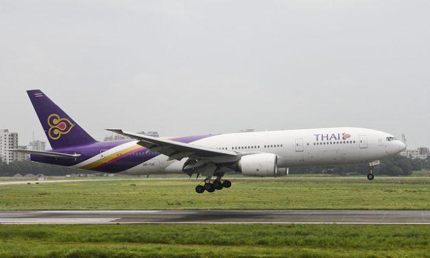 Thai Airways Boeing 777-2D7 (HS-TJC) landing at Hazrat Shahjalal International Airport Dhaka (VGHS)