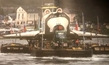 "Shipping the Russian Space Shuttle ""BURAN"" from Dubei on the river ""Rhine"" to her last reat at the Technik Museum…"