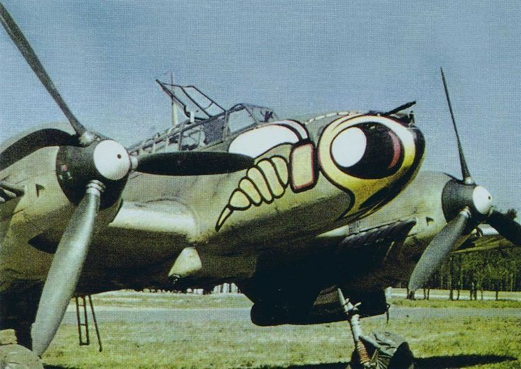 Some colour photographs of the Messerschmitt Bf-110, Germany's most famous twin-engined fighter.