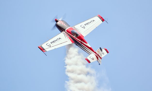 At the top of a stall turn at AAD 2018