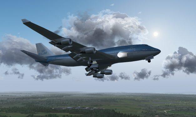 FlightGear open-source flight sim showing off it's back lit clouds.