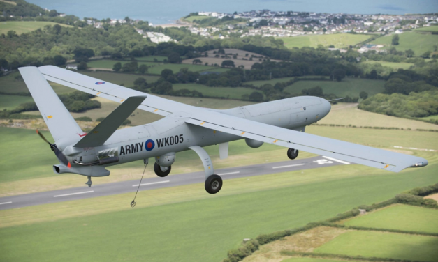 A Thales Watchkeeper WK450 Remotely Piloted Air System (RPAS) in flight over the UK during a test…