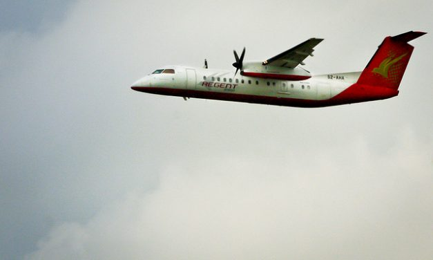Regent Airways Bombardier Dash 8-Q311 S2-AHA takes off using Runway 14 at Dhaka International Airport – VGZR