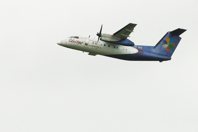 United Airways Bombardier Dash 8-102A ( S2-AES ) departs for CXB on a morbid morning