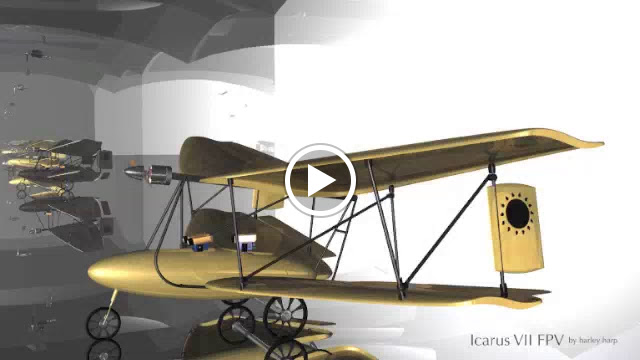 """""""Icarus VII FPV""""  would be 1/4 scale and reminds me of my foot launched Icarus II(flying wing tailess biplane),  but…"""