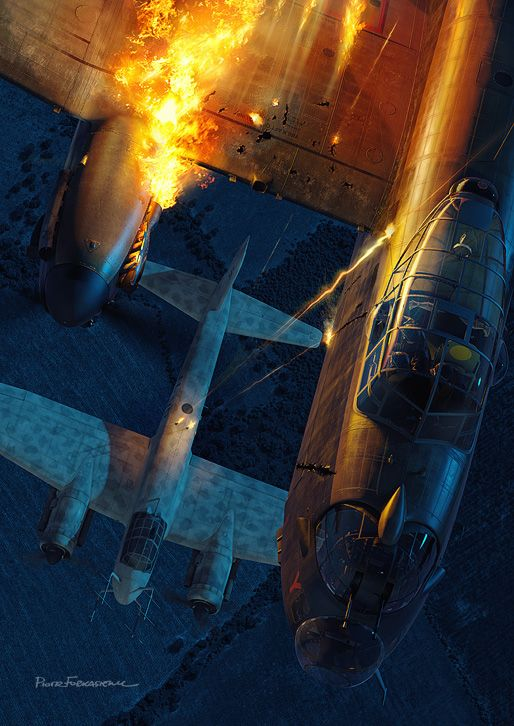 Schrage Musik by Piotr Forkasiewicz – A Ju88 Nightfighter attacking a Lancaster Bomber using the Schrage Musik…