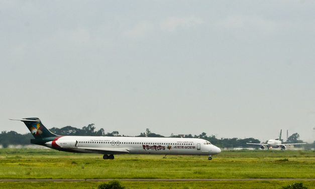 United Airways MD-83 S2-AEU taxiing to bay while Biman's Airbus A310-325(ET) S2-AFT on its final run for take off